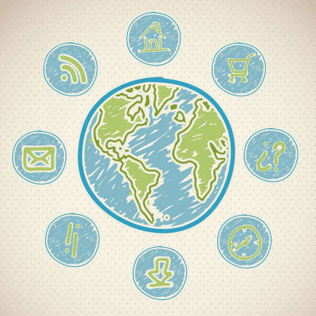 iconography: illustration of sketches of icons in text bubbles arround the world, vector illustration Illustration