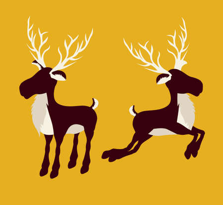 Christmas reindeer illustration on yellow background, vector illustration Illustration