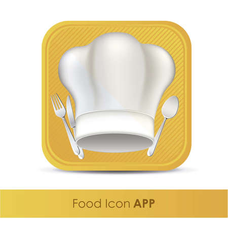 illustration of icon for application of food or restaurant with chef hat and covered, vector illustration Vector