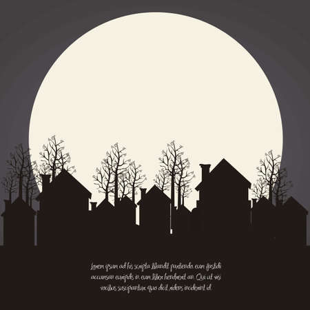 refuge: illustration of neighborhood on the  Christmas eve, vector illustration   Illustration
