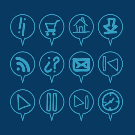 iconography: illustration of sketches icons in blue color, vector illustration