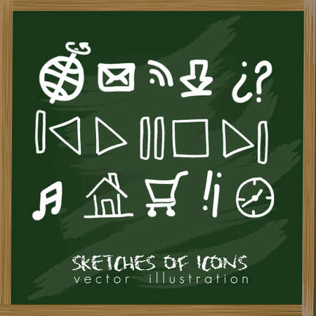 illustration of sketches of icons in a board, vector illustration Vector