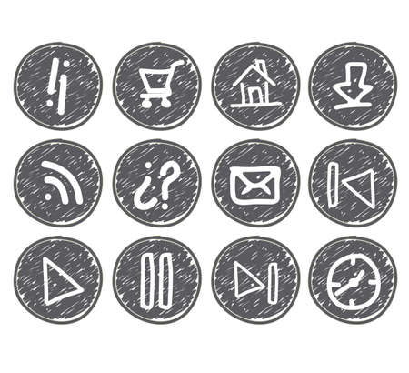 iconography: illustration of sketches of icons on gray bubbles, vector illustration