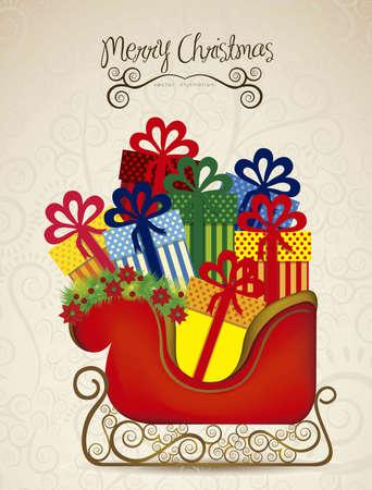 christmas sleigh: illustration of  sleigh full of gifts, on arabesque background, illustration Vector