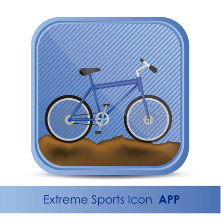 sports application: illustration of icon for application of sports, mountain biking, vector illustration