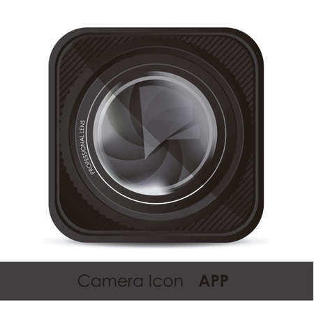 illustration of icon for application from photographs or camera, with a camera lens, vector illustration Vector