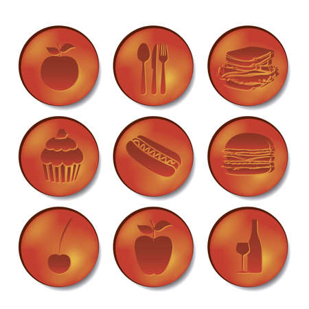 illustration of restaurant and food icons in orange bubbles, vector illustration Vector