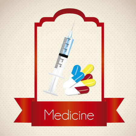 illustration of medical icon with syringe and pills, vector illustration Stock Vector - 15564063