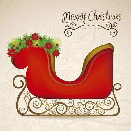 illustration of sleigh , on arabesque background, illustration Vector