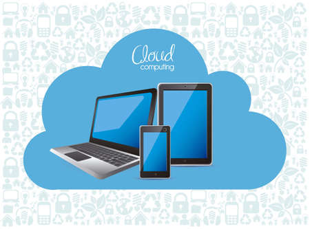 communication concept: illustration of cloud computers and communications technology, vector illustration
