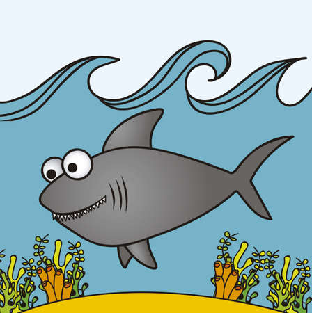 illustration of shark, Fish Drawings, aquatic animals, vector illustration   Vector