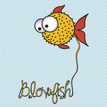 blowfish: illustration of blowfish, Fish Drawings, aquatic animals, vector illustration