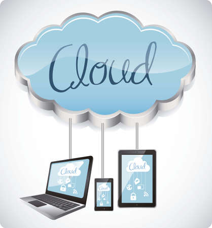 illustration of cloud computers and communications technology, vector illustration Vector