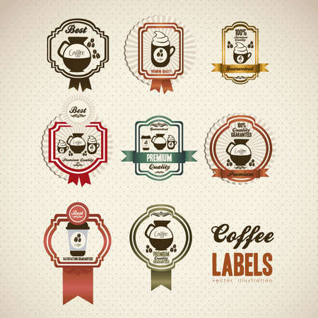 cappuccino: illustration of coffee icons in labels, isolated on white beige, vector illustration