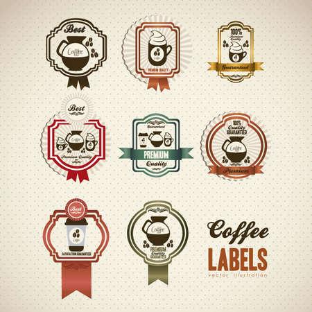 grano de caf�: ilustraci�n de los iconos del caf� en las etiquetas, aislados en blanco amarillento, ilustraci�n vectorial