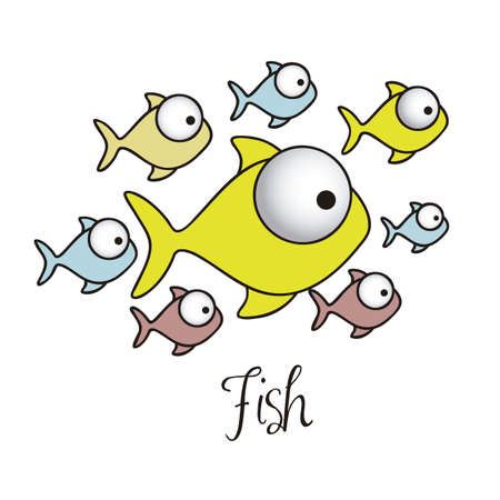 illustration of Fish Drawings, aquatic animals, vector illustration