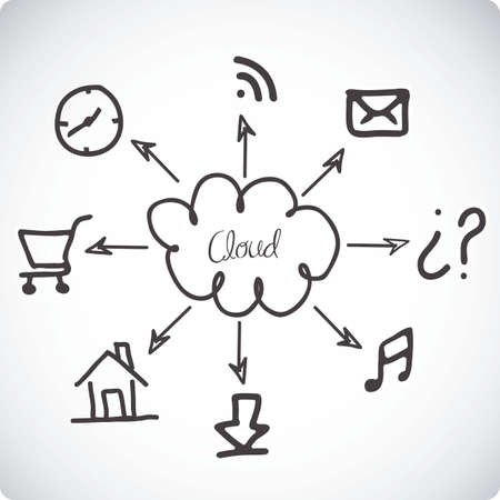 illustration of cloud computers and communications technology, vector illustration Stock Vector - 15675177