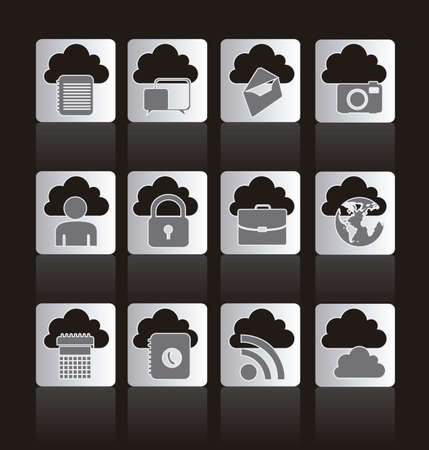 illustration of buttons of cloud computers and communications technology, vector illustration Stock Vector - 15675360