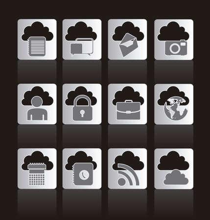communications technology: Ilustraci�n de los botones de las computadoras y la tecnolog�a de las comunicaciones nube, ilustraci�n vectorial Vectores