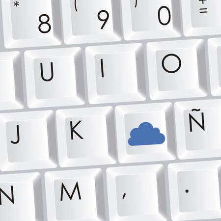 communications technology: teclado de las computadoras y la tecnolog�a de las comunicaciones nube, ilustraci�n vectorial