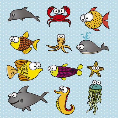 aquatic: illustration of Fish Drawings, aquatic and sea animals, vector illustration