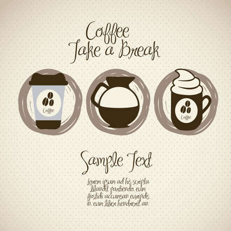 coffee: illustration of coffee icons, isolated on beige background, vector illustration