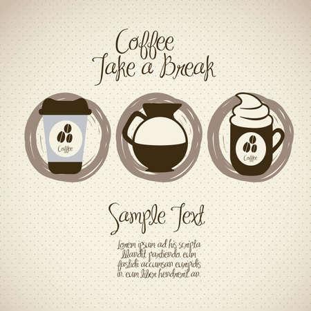 grano de caf�: ilustraci�n de los iconos del caf�, aislados en fondo amarillento, ilustraci�n vectorial