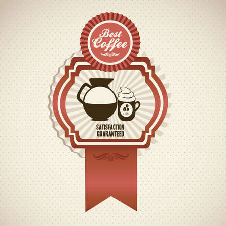 illustration of coffee icon in label, isolated on beige background, vector illustration Vector