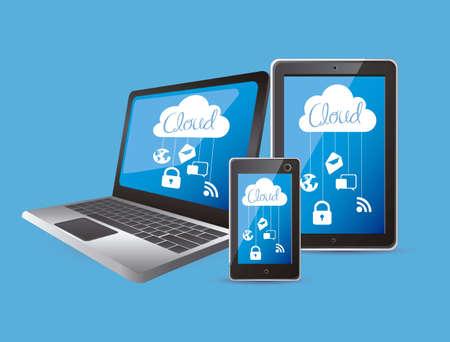 ordinateur bureau: illustration de l'informatique en nuage et la technologie des communications, illustration vectorielle