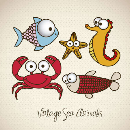 illustration of crab, starfish, fish and sea horse, fish Drawings, aquatic animals, vector illustration Vector