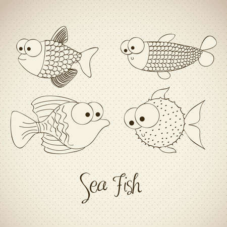 blowfish: illustration of  fish and blowfish, fish Drawings, aquatic animals, vector illustration Illustration