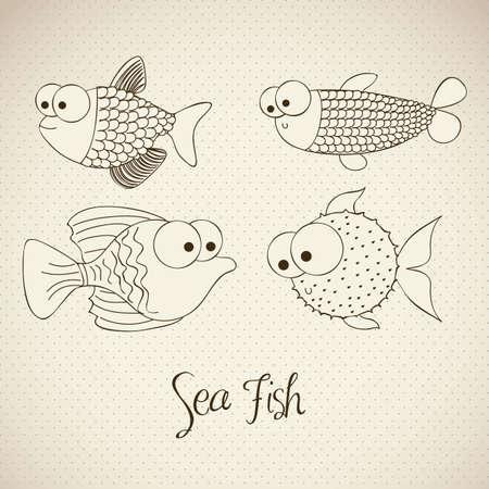 pez globo: ilustración de pescado y pez globo, Dibujos de peces, animales acuáticos, ilustración vectorial