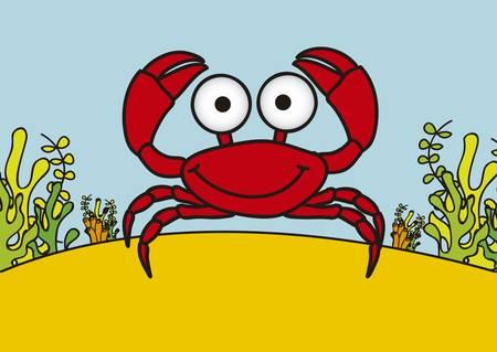 Illustration of crab, fish Drawings, aquatic animals, vector illustration Vector