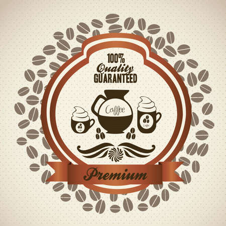 illustration of coffee icon label, isolated on beige background, vector illustration  Vector