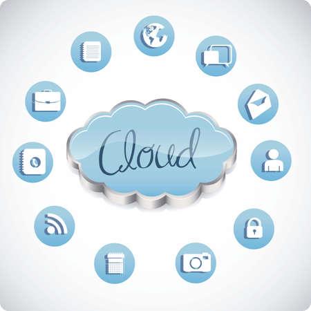 communications technology: ilustraci�n de las computadoras y la tecnolog�a de las comunicaciones nube, ilustraci�n vectorial Vectores