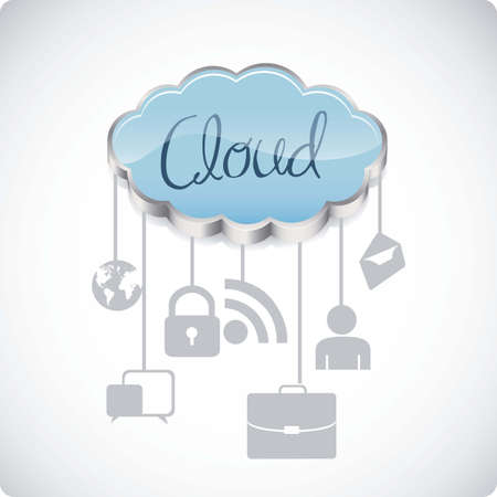 illustration of cloud computers and communications technology, vector illustration Stock Vector - 15675247