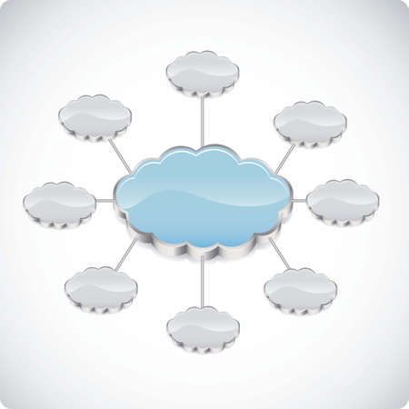 illustration of cloud computers and communications technology, vector illustration Stock Vector - 15675240