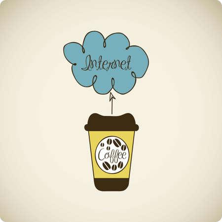 communications technology: ilustraci�n de caf� con tecnolog�a cloud, nube computadoras y tecnolog�a de las comunicaciones, ilustraci�n vectorial Vectores