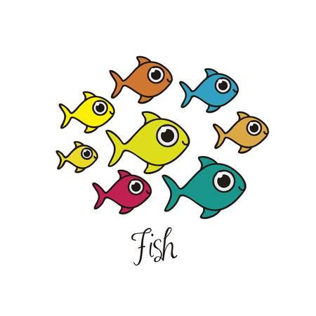 undersea: Ilustraci�n de dibujos de peces, animales acu�ticos, ilustraci�n vectorial