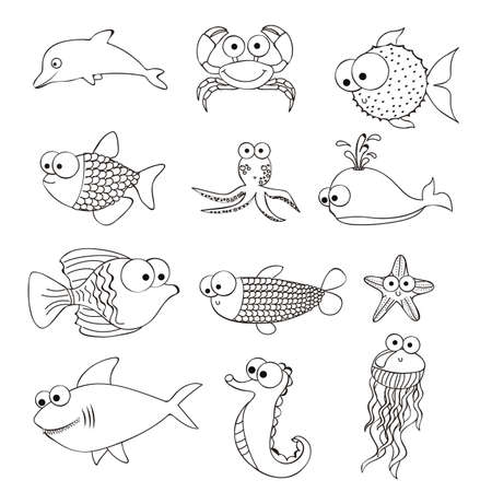 Illustration of  puffer fish, starfish, sea horse, octopus, puffer fish, whale, desfin fish shark, fish Drawings, aquatic animals, vector illustration Vector