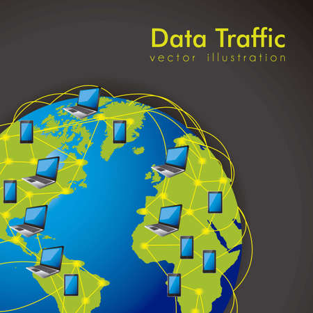 illustration of Internet Data Traffic, lines of communication planet, vector illustration Vector
