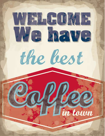 Illustration of Vintage Poster Art, coffee poster, vector illustration Banco de Imagens - 15676277