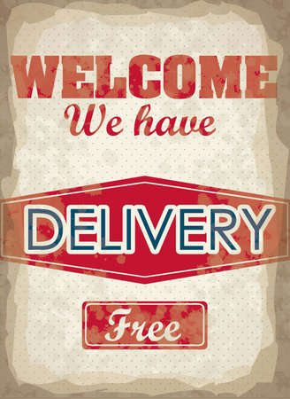Illustration of Vintage Poster Art, free delivery poster, vector illustration Vector
