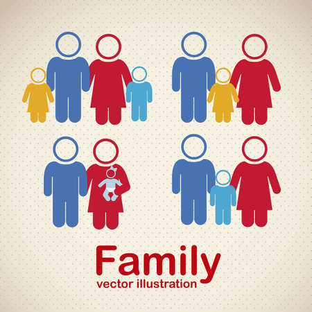 Illustration of family icons, isolated on beige background, vector illustration Stock Vector - 15794615