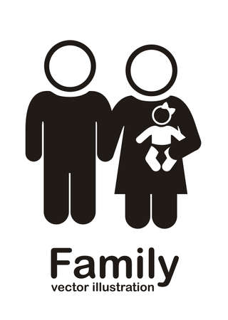 Illustration of family icons, isolated on white background, vector illustration Stock Vector - 15794393