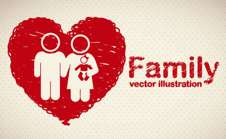 happy couple at home: Illustration of family icons on heart sketch, isolated on beige background, vector illustration