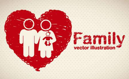 ser padres: Ilustraci�n de los iconos de la familia en bosquejo coraz�n, aislados en fondo amarillento, ilustraci�n vectorial