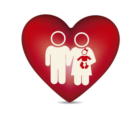 Illustration of family icons on heart, isolated on white background, vector illustration Stock Vector - 15794426