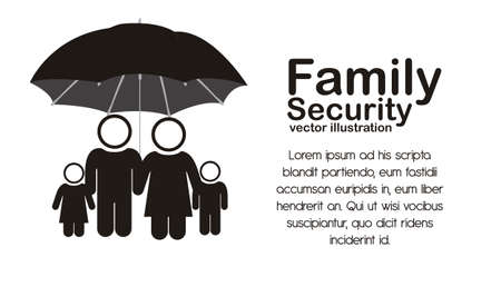 Illustration of family icons, safety and protection of the family, isolated on white background, vector illustration Stock Vector - 15794489