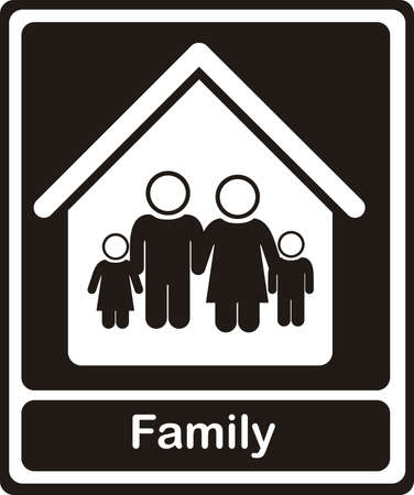 Illustration of family icons on house, isolated on white background, vector illustration Stock Vector - 15794394